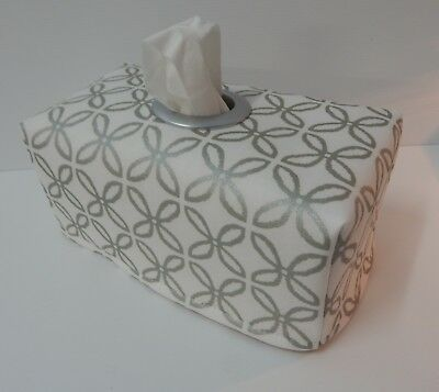 Metallic Boxed Clover Leaf Tissue Box Cover With Circle Opening - Gorgeous!