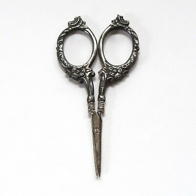 Antique Sewing Scissors S.L. & Co. Sterling Silver Handles 3 3/4""