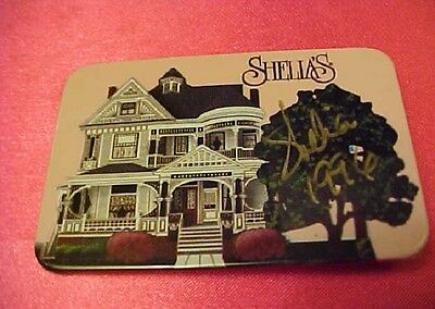 SHEILA'S HOUSE badge Pin Victorian House PINK background Signed