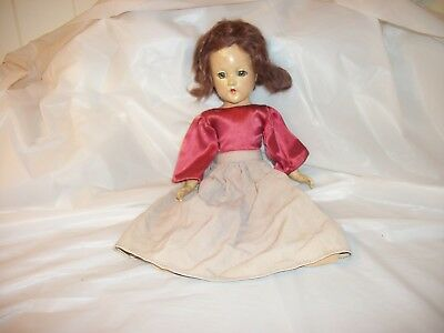 "Vtg. 1930's? Composition Madame Alexander 14"" Doll Brown Mohair Blue Sleep Eyes"