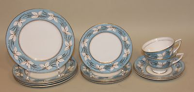 12 Pcs Royal Doulton Castleford Blue H4755 China Salad Bread Plates Cups Saucers