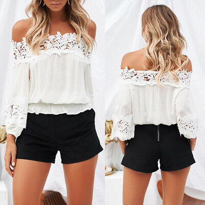 Women Sexy Chiffon Shirt Off The Shoulder T Shirts Blouse Beach Party Top Blouse