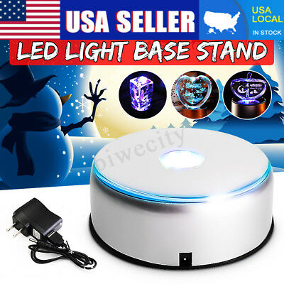 2X 7 LED 3D Rotating Crystal Display Colorful Light Unique Base Stand+Adapter