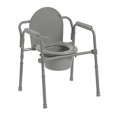 Lowest price NEW - Drive Medical Folding Steel Bedside Commode, Grey 11148-1