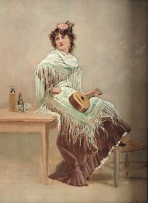 Original Antique Painting Woman with Mandolin or Quitar Framed Early 1900's