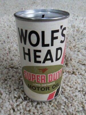 Wolf's Head Super Duty Long Distance Motor Oil Tin Advertising Bank Paper Label