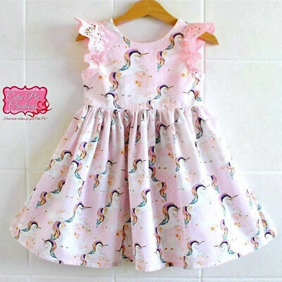 Kids Baby Girls Lace Cartoon Unicorn Party Pageant Dress Sundress Skirt Clothes