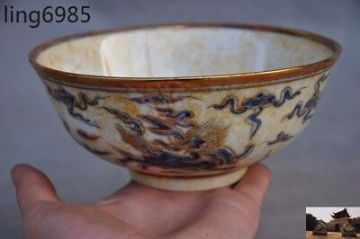 """A6""""Marked Old Chinese Blue&White porcelain gilt God beast ancient bowl Cup Bowls"""