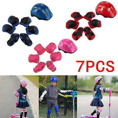 UK Kids Roller Skating Helmet​ Knee Elbow Wrist Pad Protective Gear Sets 4-16
