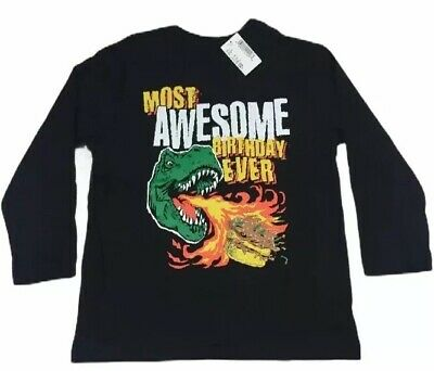 Childrens Place Size 4 BIRTHDAY T SHIRT TEE Long Sleeves Black NWT