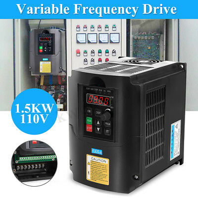1.5KW 110V Single To 3 Phase VFD VSD Variable Frequency Drive Inverter Converter
