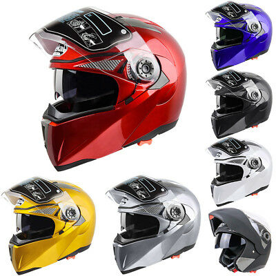 UK Flip Up Crash Helmet Motorcycle Motorbike Dual Visors Normal Full Face Colors