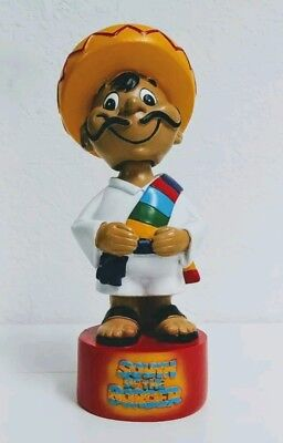 """Mexican man bobble head ~ classic wood 9"""" tall ~ South of the border"""