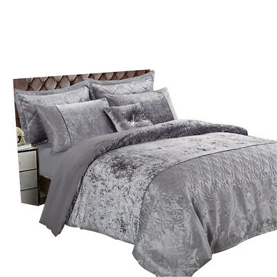 3 Piece Santiago Silver Grey Crushed Velvet Duvet Quilt Cover Set/Cushion Cover