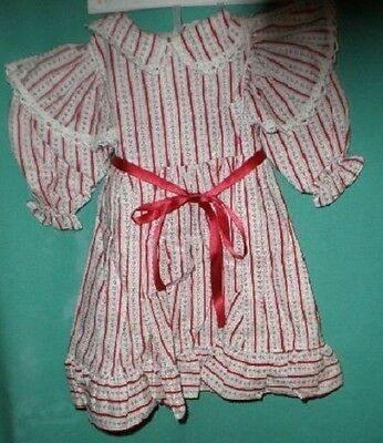 Puppenkleid rot/weiss Biedermuster/doll dress red/white