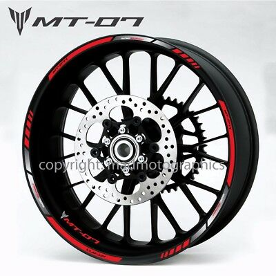 Yamaha MT-07 motorcycle wheel decals stickers rim stripes Laminated mt07 MT red