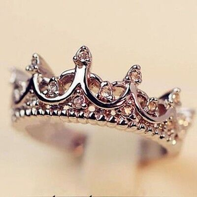 US Women Princess Silver Rose Tone Rhinestone Queen Crown Ring Size 7 8 9 Gift