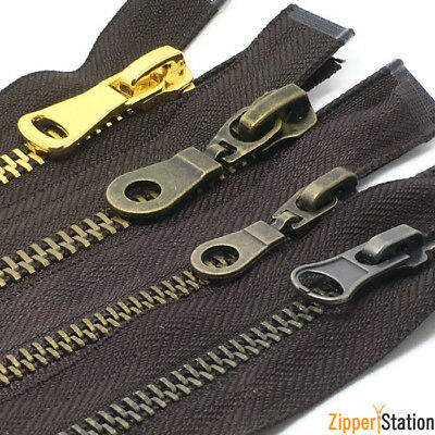 Brown Metal Open End Zips, #8 and #5 - Antique Brass and Gold N8 N5 Zippers
