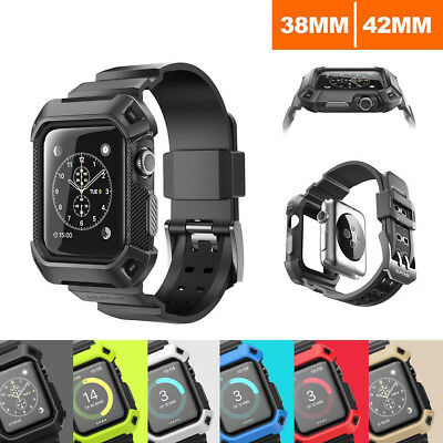 Armor Heavy Duty Tough Strap Case Cover for iWatch Apple Watch Series 1 2 3