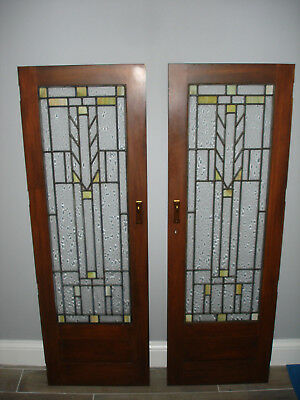 "Vintage Arts & Crafts Style  Leaded Stained  Glass Door/ Window 39 1/2"" x 31/2"""