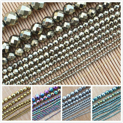 2-12mm Many-Color Faceted Hematite Round Loose Beads 15""