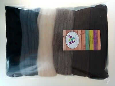 Animal set* Pure Wool Tops for felting 6 colours: grey brown black, 60g