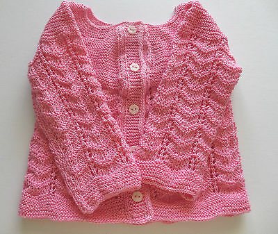 Baby Sweater Handmade Knitted  Cardigan  Size 6-12 Months, Unique  100% Cotton