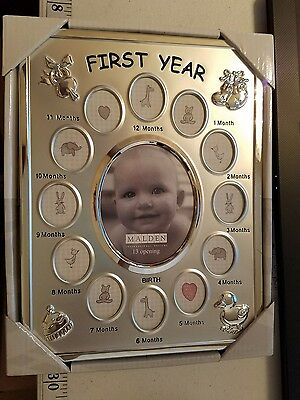 Baby Monthly Malden First Year Picture Frame Silver