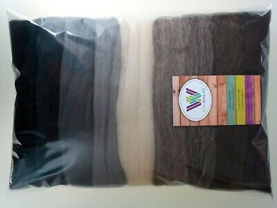 Animal set* Pure Wool Tops for felting 9 colours: ivory grey brown black, 90g
