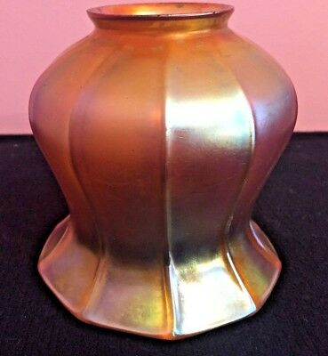 A Vintage Quezal  Aurene Gold Iridescent Art Glass Shade.