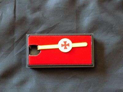 York Rite Knight Templar Middle Red Cross Tie Bar Necktie Gold Color Masonic NEW