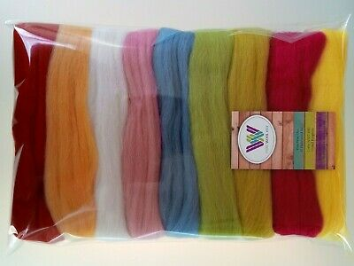 Summer set* Pure Wool Tops for Wet and Needle Felting, Packs of 9 colours, 90g