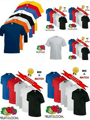 5 10 20 Pack Men's New Fruit Of The Loom 100% Cotton Plain Tee Shirt T-Shirt Lot