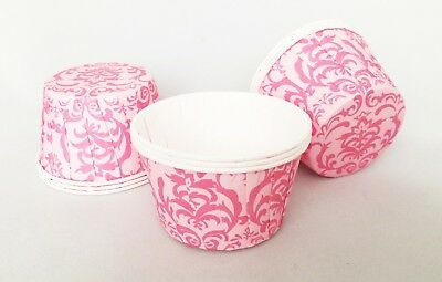 Pink Damask Style Pleated Cupcake Cases Muffin Cases Baking Cups