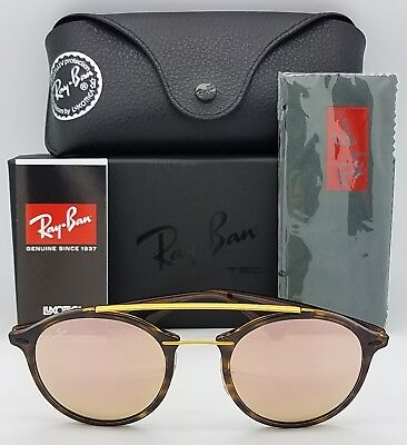 64b116556c2 NEW Rayban sunglasses RB4266 710 2Y 49 Tortoise Copper Pink Round LightRay  4266