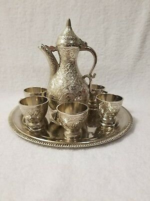 rare 7 pcs decoration sterling silver coffee set