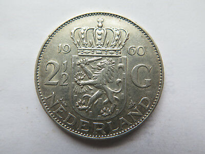 1960 NETHERLANDS HOLLAND 2.5 or 2 1/2 GULDEN SILVER COIN EXCELLENT CONDITION
