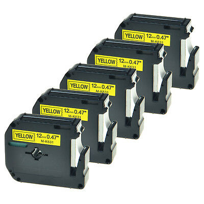 5 PK Black on Yellow Label For Brother M-K631 M631 MK631 P-touch Tape PT-65 12mm