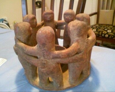 Aztec Mayan Folk Art Clay Pottery 7 Circle Of Friends Candle Holder Statue