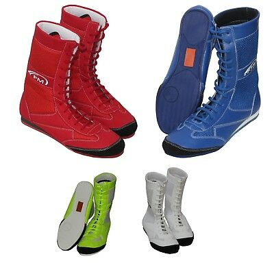 PM Sports Long Anklet Leather Boxing Boots Shoes Rubber Sole Junior & Adult