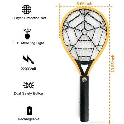 Loskii LED Rechargeable Electric Bug Zapper Mosquito Insect Fly Swatter Racket