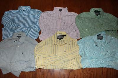 Lot Of 6 Abercrombie & Fitch Mens Muscle Dress Shirts Blue Gray Pink Size Small
