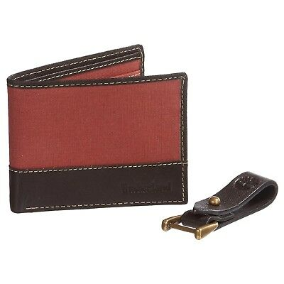 Timberland Mens Canvas Leather Wallet Key Clip Gift Box Set Red Bifold ID Window