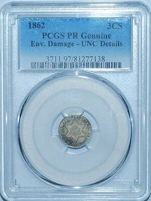 1862 PCGS Genuine Proof Strike 3 Cent Silver 3CS