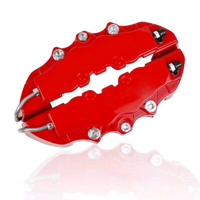 4x 3D Car Disc Brake Caliper Covers Red Front & Rear for 18.3-23.6 inch wheels