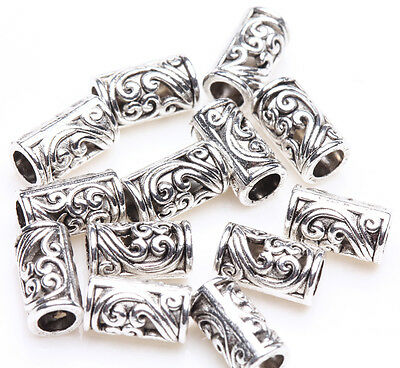 25pcs Tibetan Silver Tube Charm Loose Spacer Bead Bracelet Jewelry Finding 8x5mm