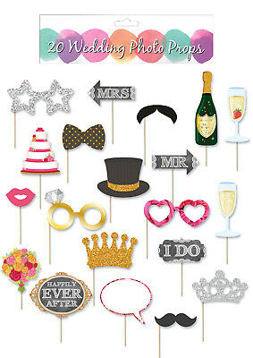 20x PHOTO PROPS Booth Selfie Stick Masks Wedding Birthday Party Frame Hen Game