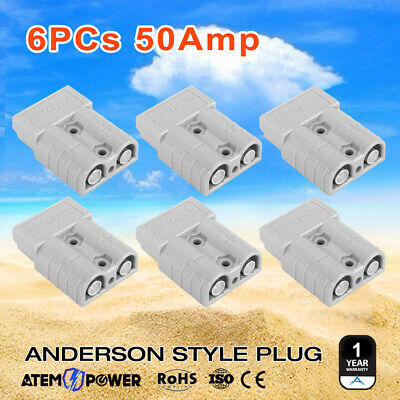 6PCS Anderson Style Plug 50 AMP 6AWG