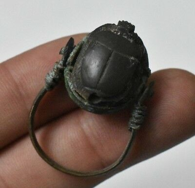 RARE ANCIENT EGYPTIAN Copper RING with Scarab  New Kingdom (1549–1069 BC