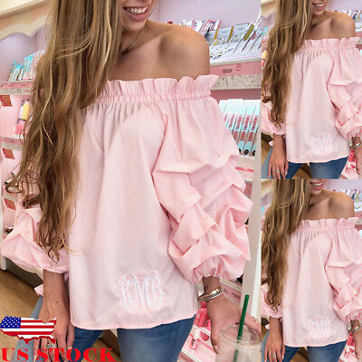 US Women's Off shoulder Long Puff Sleeve Shirt Loose Casual Blouse Tops T-Shirt